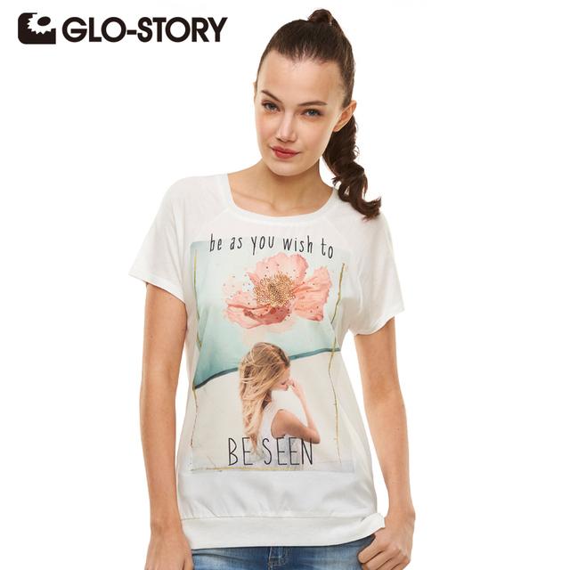 Glo-story marca 2017 fashional verano camiseta de impresión de manga corta del o-cuello mujeres tops plus tamaño casual mujer tee wpo-1516