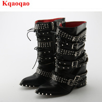 Pointed Toe Black Color Side Zip Women Short Booties Brand Design Super Star Runway Shoes Stylish Rivets Embellished Heel Boots