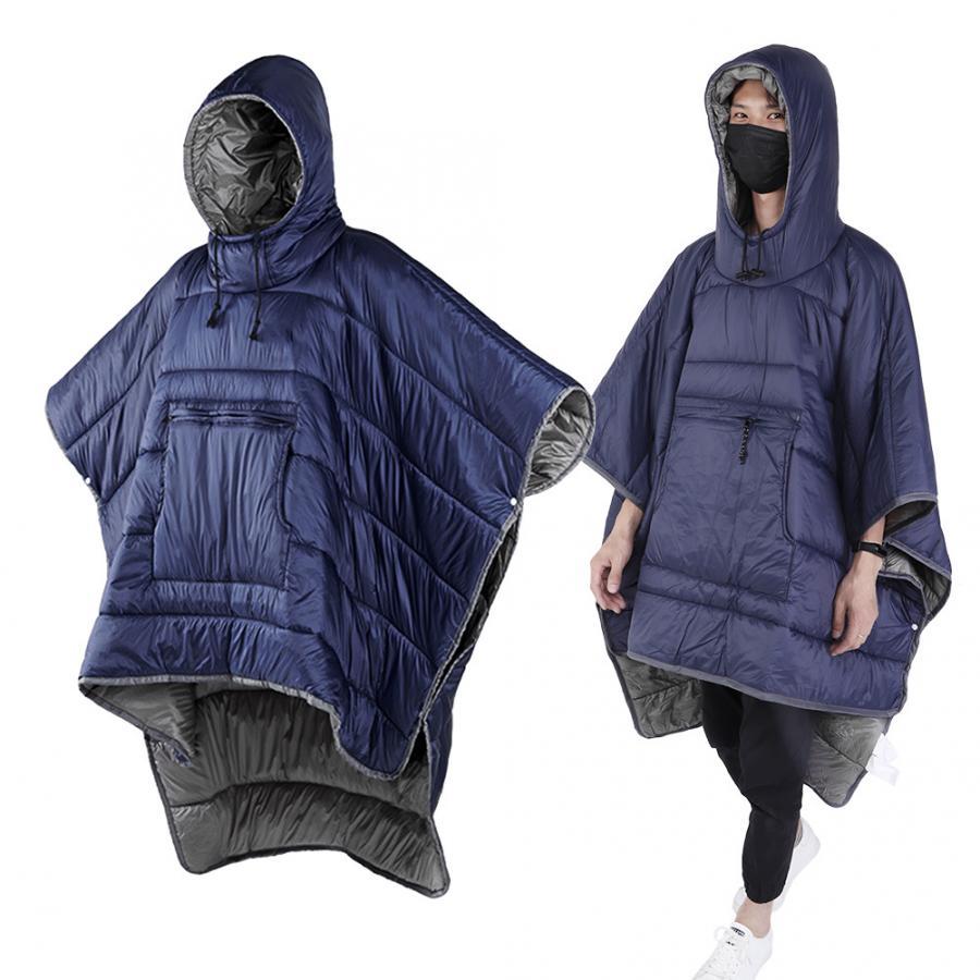 Outdoor Wearable Cloak Sleeping Bag Winter Plus Quilt Warm Camping Travel Sleeping Bag Water-resistant Hooded Cloak