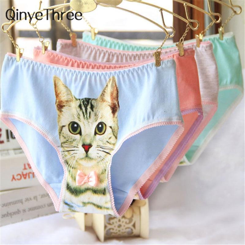 Buy Hot Selling Cotton Panties Women's Underwear Briefs 3D Printing Panty Cat Panties Sexy Girls Lingerie Intimates Women calcinha