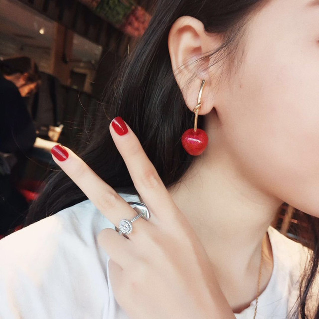 Dominated 2019 New Simple Sweet Metal Knotted Women Drop earrings Personality joker Resin cherry long earrings.jpg 640x640 - Dominated 2019 New Simple Sweet Metal Knotted Women Drop earrings Personality joker Resin cherry long earrings