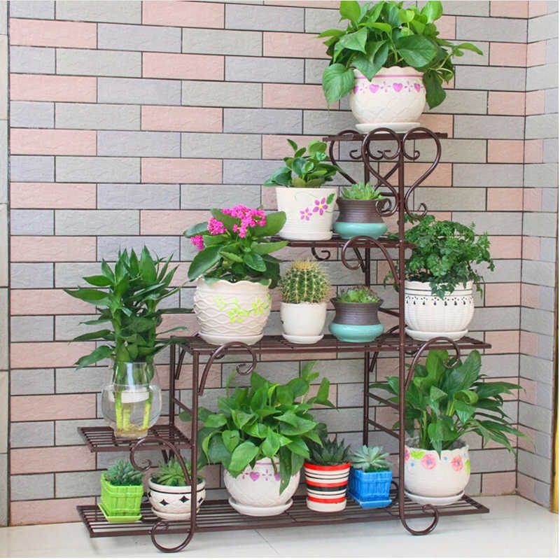 95*88*25cm european balcony and indoor flower pot holder garden flower stand iron flower pergolas white black brown color