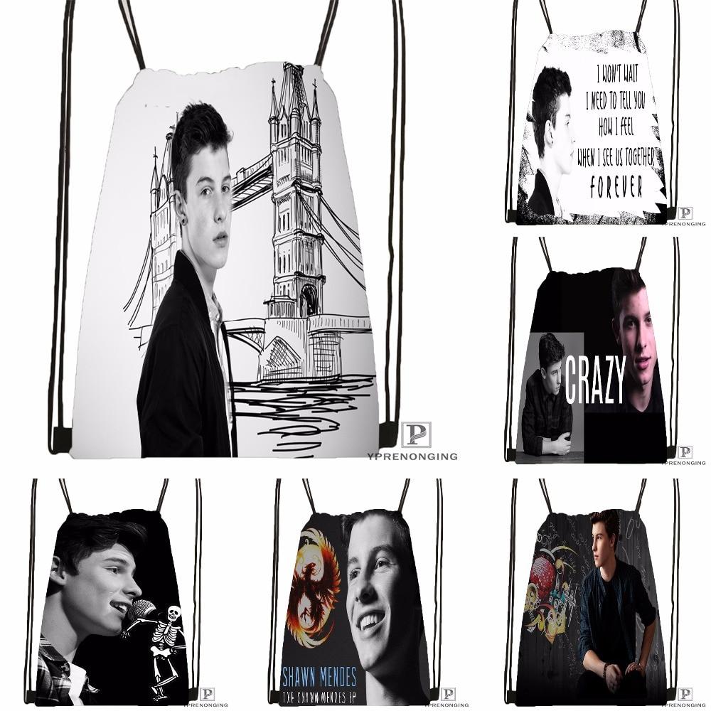Custom Shawn Mendes Drawstring Backpack Bag Cute Daypack Kids Satchel (Black Back) 31x40cm#180531-02-04