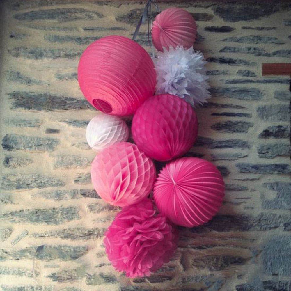 (White Pink Fuchsia)8pc Decorative Honeycomb Paper...