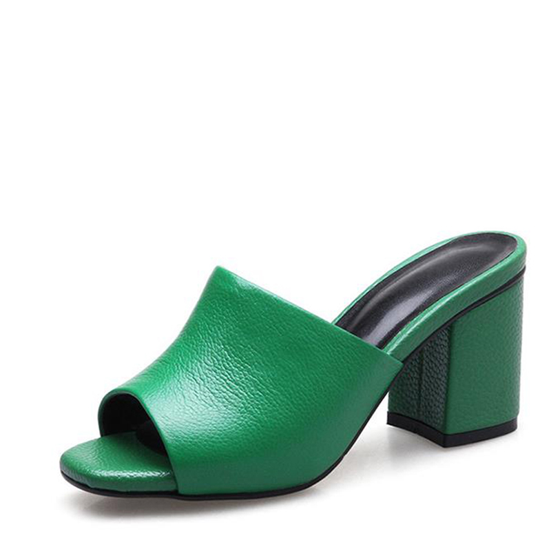 The new high quality first layer of cow leather summer women's shoes fashion heels is a sexy comfort for the Roman mouth fashion the new high quality imported green cowboy training cow matador thrilling backdrop of competitive entrance papeles