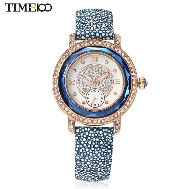 2016 TIME100 Relógios Femininos Cinta de Couro Diamante Noviado Vestido  Dual Discagem Relógios de Pulso de f7e077d5a6