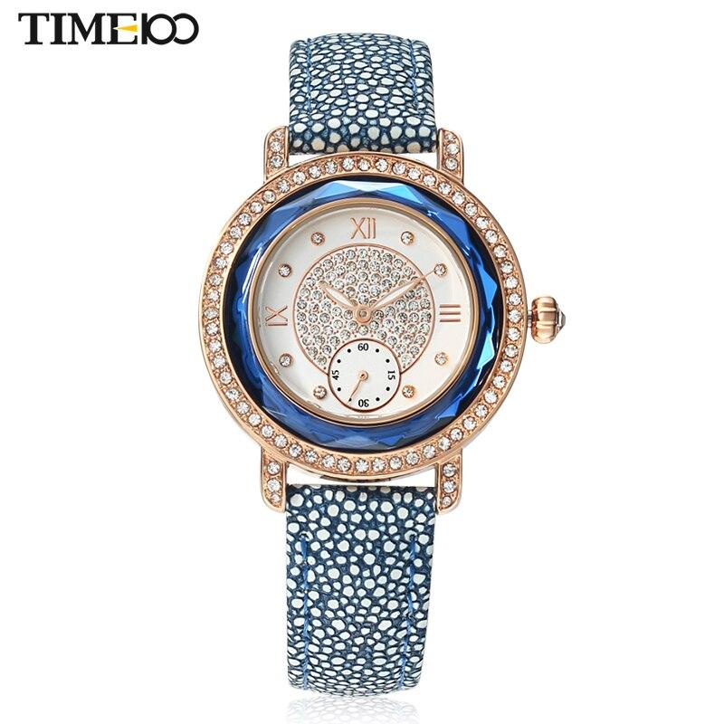 TIME100 Women Watches Ocean series Leather Strap Diamond Engagement Dual Dial Ladies Quartz Wrist Watches For Women Unique Clock