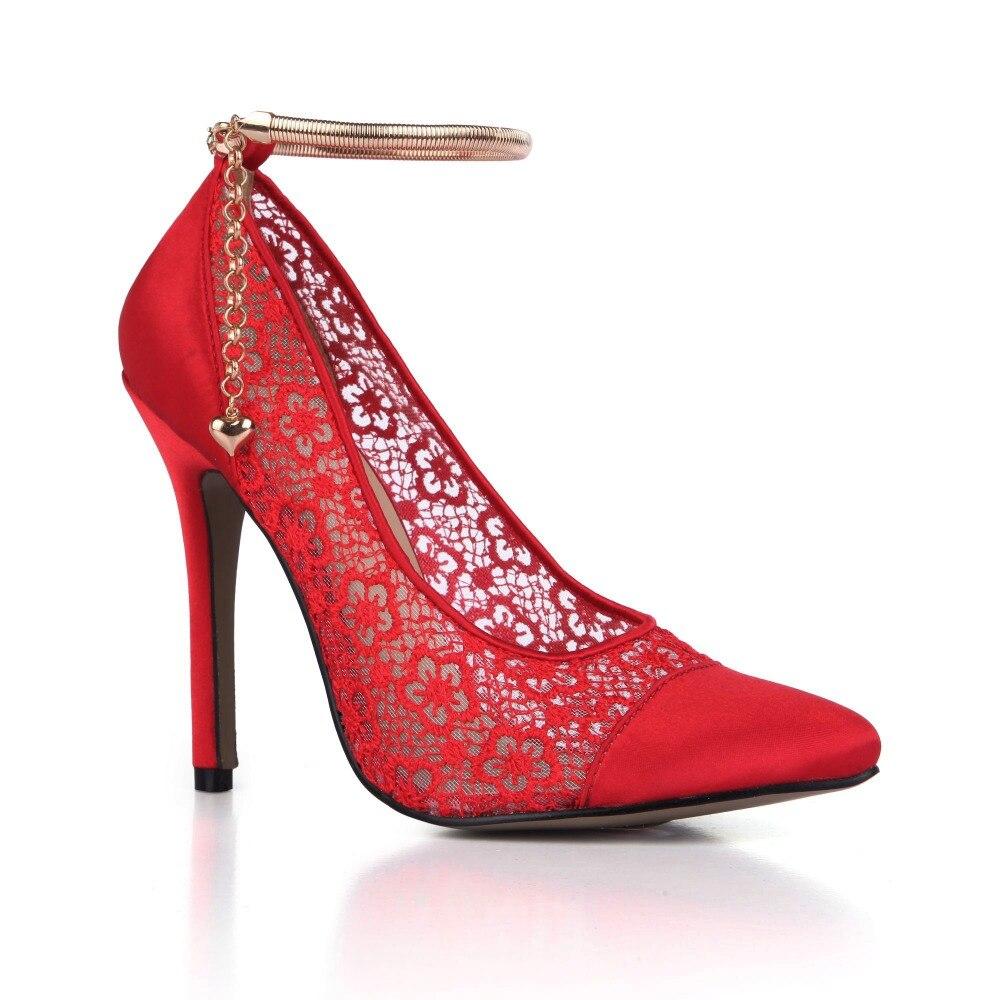 2018 date ivoire/rouge/noir dentelle maille femmes chaussures de mariage Satin talons hauts chaîne femmes pompes de mariée respirant robe de soirée Shos