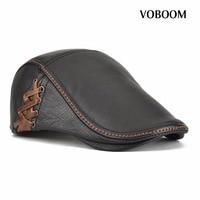 VOBOOM Autumn Winter Leather Flat Cap Men Women Gold Ivy Cabbie Hat Duckbill Boina Berets 176