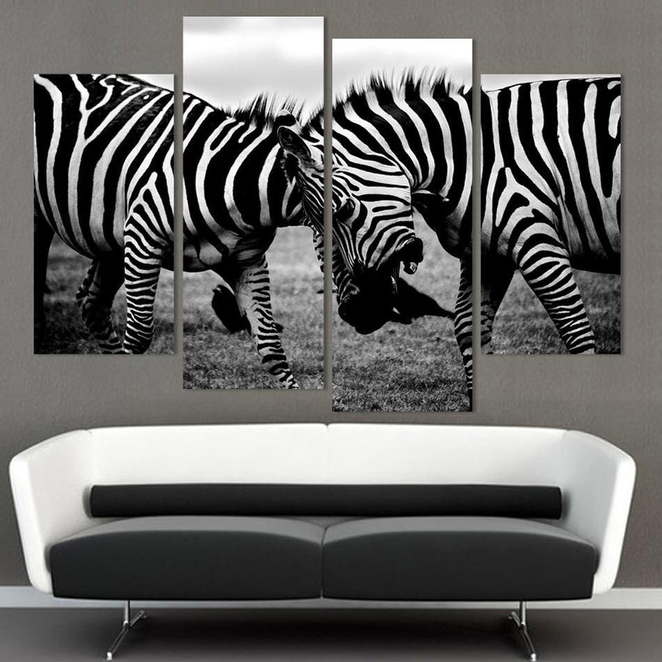 4 panel NO FRAME LEINWAND NUR zebra tier leinwand malerei wandkunst ...