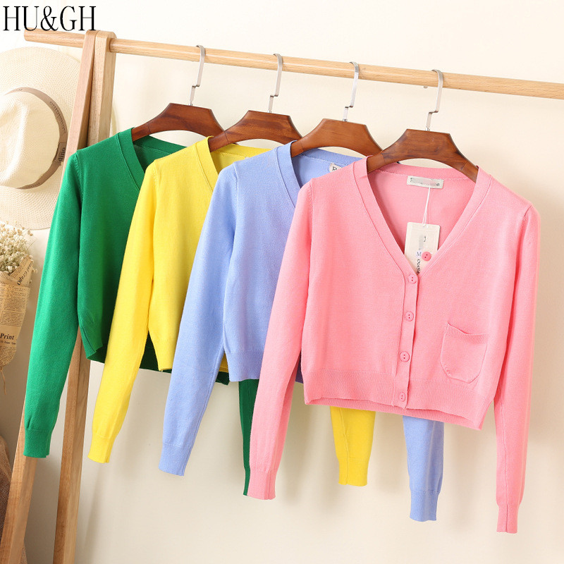 New Arrival Spring And Autumn Knitted Cardigan Short Coat Casual V-Neck Long Sleeve Cardigans Sweater Thin Coat Female Tops