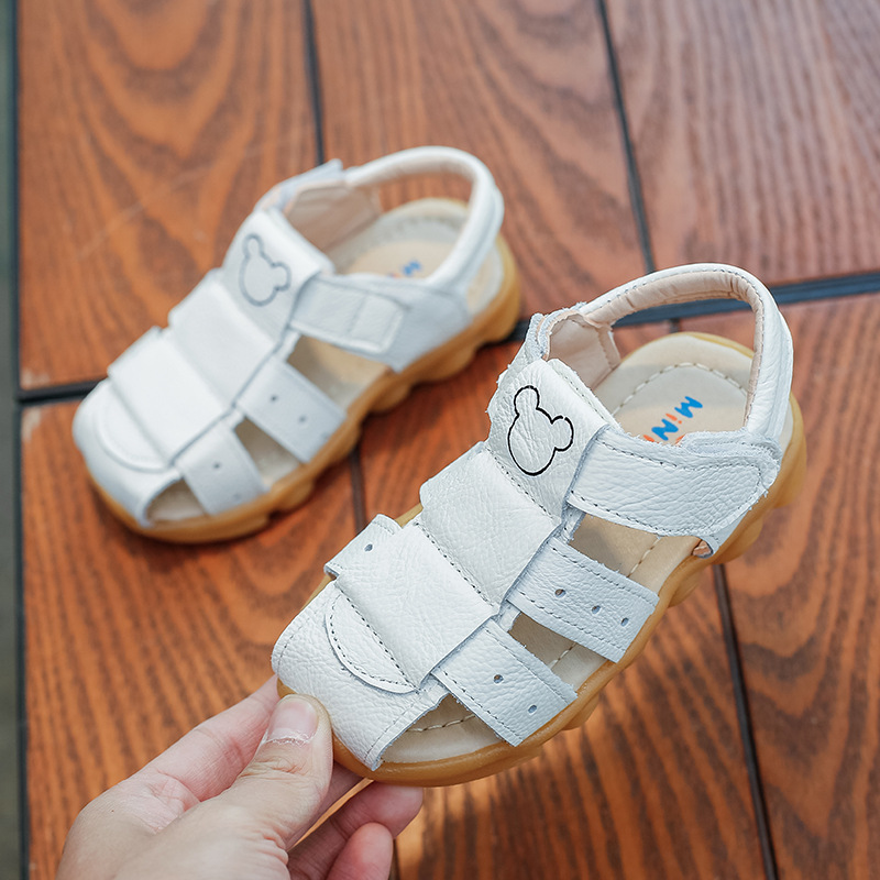 girls summer sandals 100% pure leather white beach shoes kids yellow children boy sandals leather sandals girls