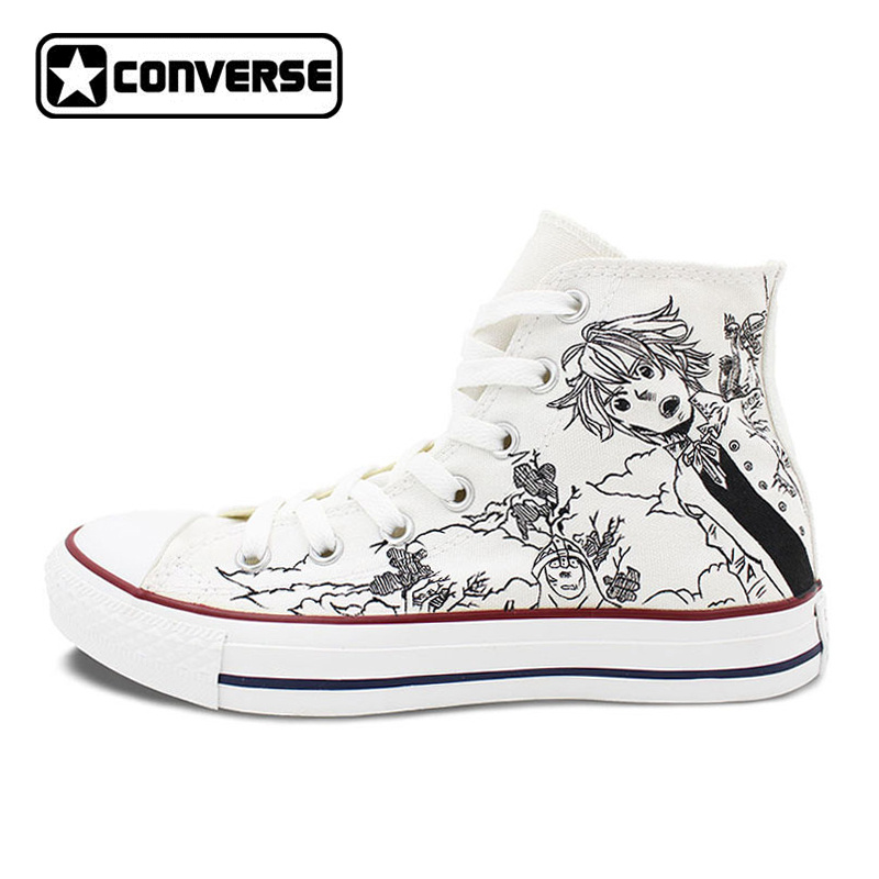 Men Women Converse All Star White Anime Shoes Seven Deadly Sins Design Custom Hand Painted Shoes High Top Man Woman Sneakers ensemble stars 2wink cospaly shoes anime boots custom made