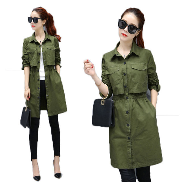 The New Autumn Dress Coat  Korean Slim Waist Single Breasted Long Sleeve  Middle And Long Section Of The Spring And Autumn Femal