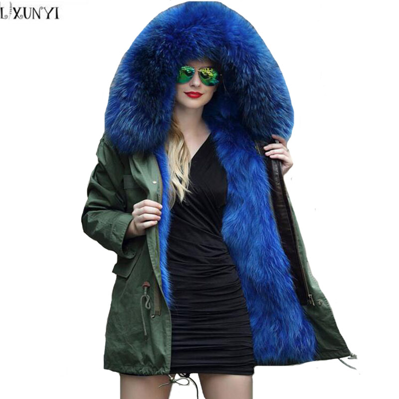 LXUNYI New Ladies Winter Fur Coats Parka Women jackets 2017 Really 100% Fox Fur Collar Coat jaqueta Feminina inverno Outerwear 2017 winter new clothes to overcome the coat of women in the long reed rabbit hair fur fur coat fox raccoon fur collar