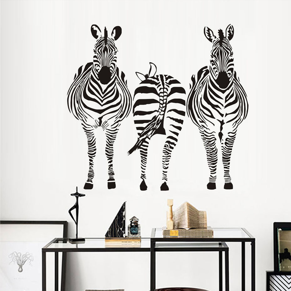 Three Zebra Wall Sticker Cheapest Wholesale Living Room Vinyl