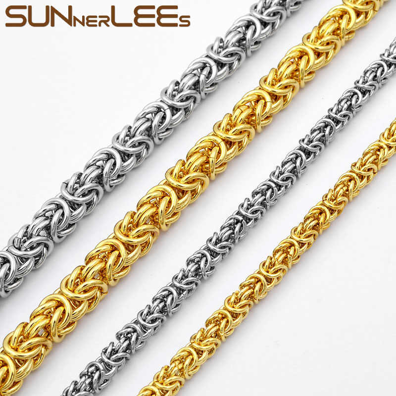 SUNNERLEES 316L Stainless Steel Necklace 4mm~9mm Byzantine Link Chain Silver Gold Men Women Fashion Jewelry Gift SC11 N