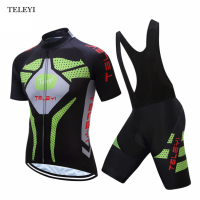 TELEYI Team Ropa Ciclismo Men's Cycling Bike Set Bicycle Sports Clothing Short Sleeve Jersey Bib Shorts Wear Suit