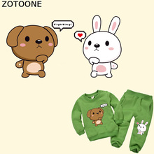 ZOTOONE Cartoon Rabbit Bear Iron on Transfer Animal Patches for Kids Clothes T-shirt DIY Heat Vinyl Stickers Applique