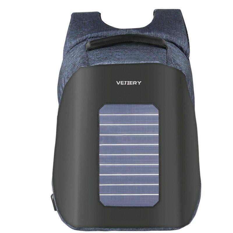 VEJIERY солнечной энергии мужской рюкзак Противоугонная 15,6 дюйм(ов) ов) ноутбук водостойкий USB зарядка рюкзак большой емкости студенческий рюк...