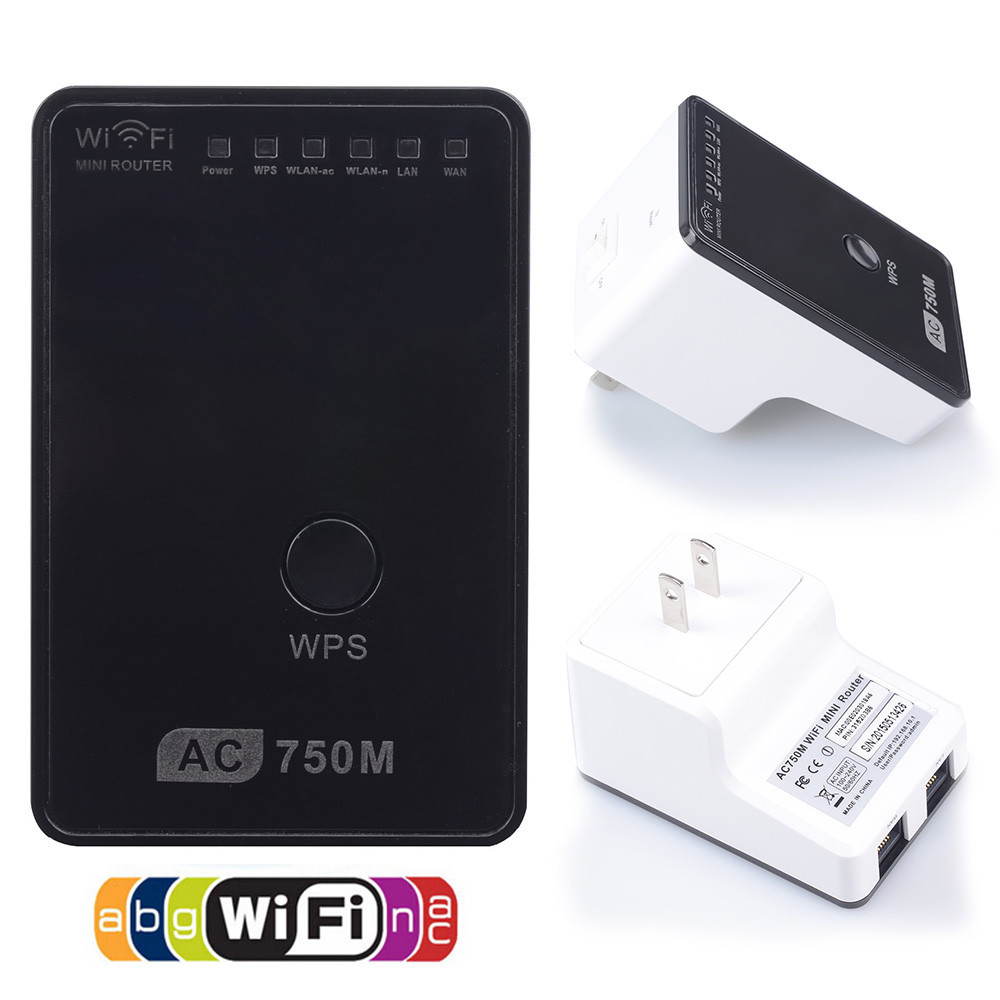 AC750 Universal Wireless Dual Band Wifi Repeater Range Extender Router Booster