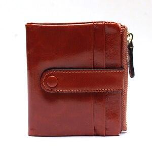Image 3 - Женский кошелек из натуральной кожи, маленький держатель для карт, дамские Короткие Бумажники на застежке из вощеной масляной кожи, сумочка для мелочи