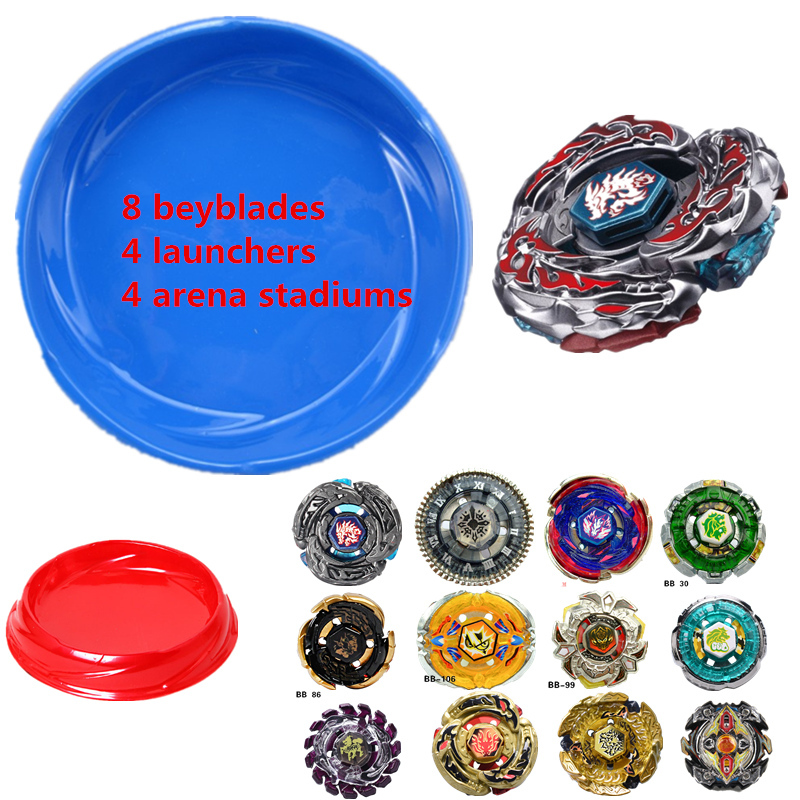 2018 Beyblade Burst Arena Set (8 beyblades+4 launchers+4 arena) Classic Toy Kids Gifts spinner top Genuine Tomy Beyblade Pegasus тумба под телевизор sonorous st 160f wht mol bs