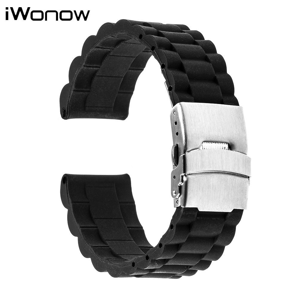 Silicone Rubber Watch Band 22mm for Samsung Gear S3 Classic / Frontier Stainless Steel Safety Buckle Strap Wrist Belt Bracelet 22mm silicone rubber watch band for samsung gear s3 classic frontier stainless steel buckle strap wrist belt bracelet black