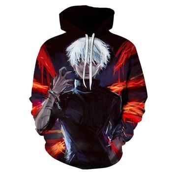 New Tokyo Ghoul Harajuku 3D Hoodies Men 2019 Fashion Funny Anime Hoodie Streetwear Casual Sweatshirts Hip Hop Men Women Jacket
