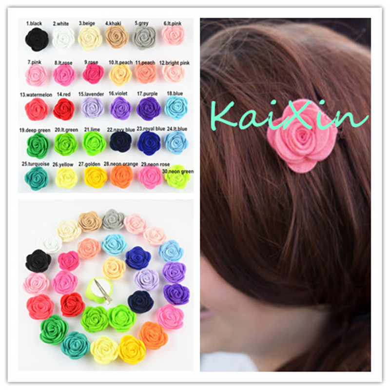 20pcs/lot 4cm Mini Girls Frelt Fabric Rose Flowers With Hair Clips Boutique Headwear girl Accessories U Pick Color FC108 halloween party zombie skull skeleton hand bone claw hairpin punk hair clip for women girl hair accessories headwear 1 pcs