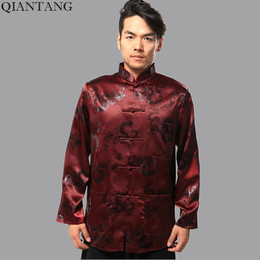 Hot Sale Burgundy Chinese Mens Silk Satin Kung Fu Jacket Coat Long sleeve  hombre chaqueta abrigo Size S M L XL XXL XXXL Mim12B f26b5e626