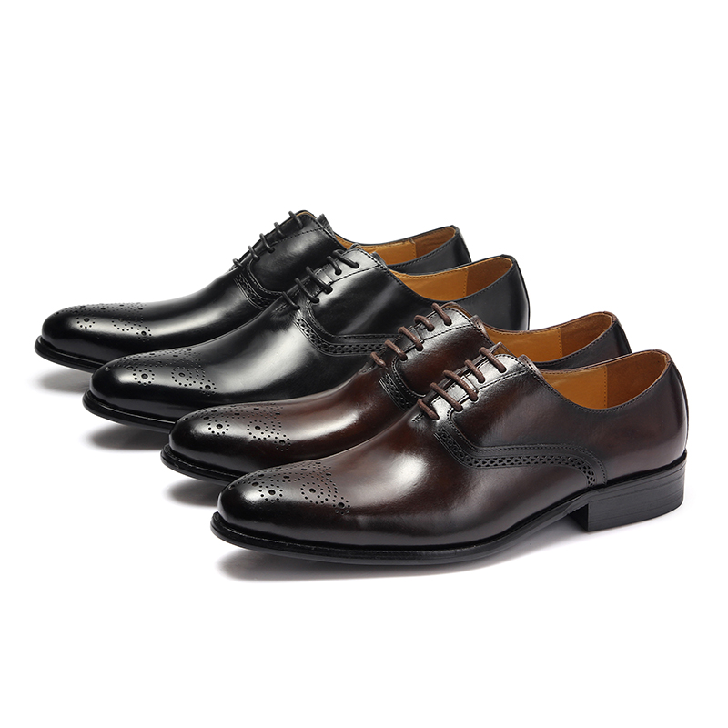 2a40721bb400 KARRUCCI Genuine Leather Lace Up Men Black Coffee Formal Oxford Shoes  Office Business Dress Suit Footwear With Dot Detail -in Formal Shoes from  Shoes on ...