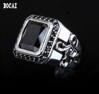 925 серебряные могучий Тотем тайский серебро инкрустированные черное кольцо циркон