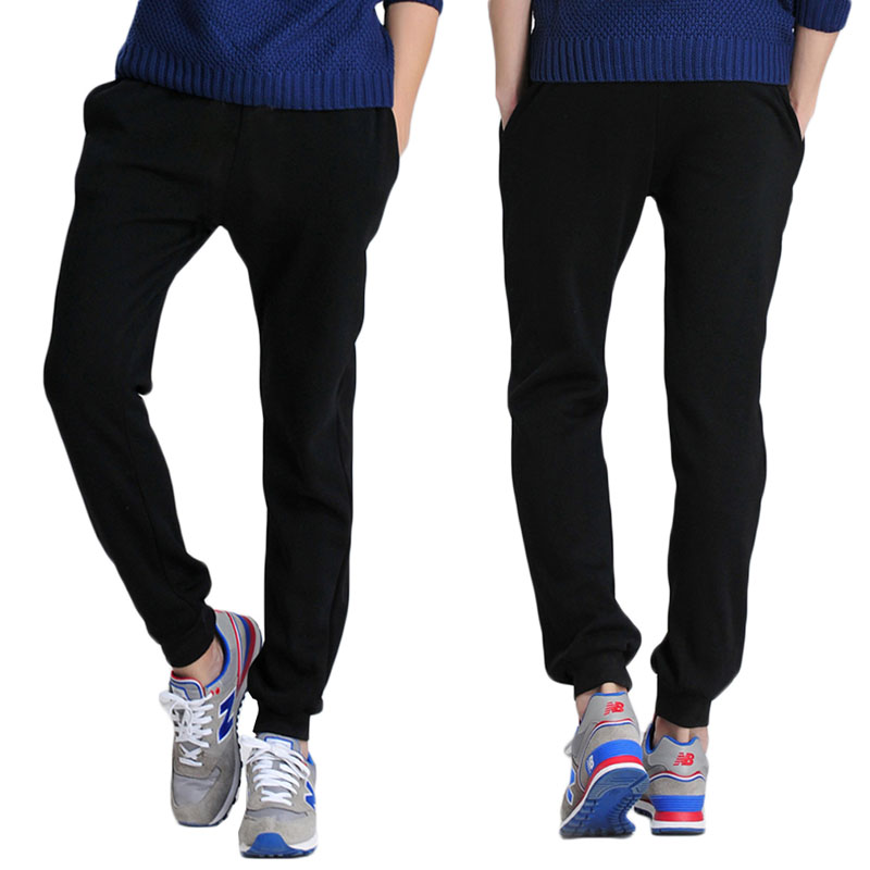 Men Fashion Casual Slim Fit Skinny Sweat Pants Leisure Tracksuit Bottoms Joggers with Pocket Men Mid Drawstring Pencil Pants