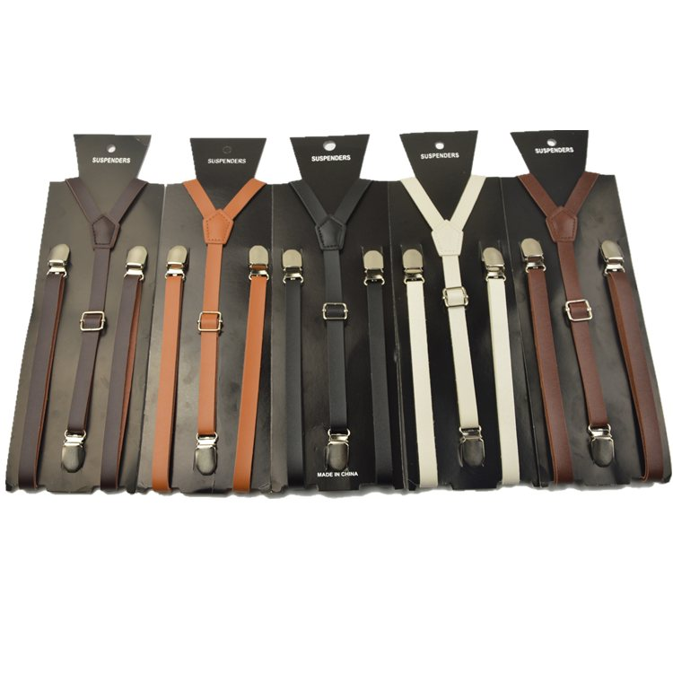 2016 fashion women leather thin and narrow suspenders  belt PU Leather Clip-on Men Women Braces Suspenders 1.3CM Width