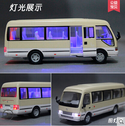 Toyota Coaster 1:32 Bus car model kids toy alloy sound light pull back Christmas gift boy Passenger car CMB