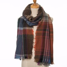 Fashion women cashmere scarf winter warm tartan wool scarves