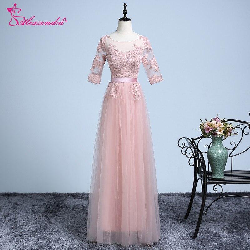 Alexzendra Tulle une ligne robes de bal 2018 longues manches courtes Simple formelle robe de soirée robes de soirée pour les filles