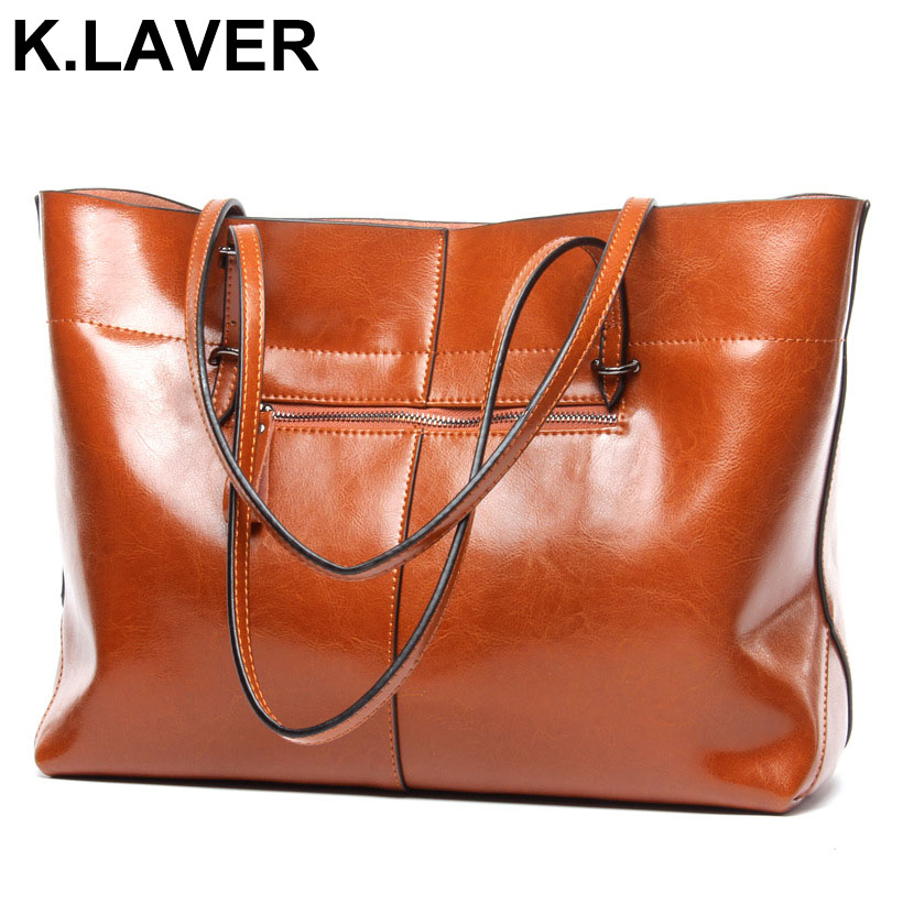 K.LAVER Genuine Leather 2017 Fashion Brand Ladies Casual Tote Handbag Women Bag Cowhide Real Leather Shopping OL Shoulder Bags new crazy horse cowhide women shoulder bag genuine leather fashion casual ladies luxury satchel bags famous brand tote handbag