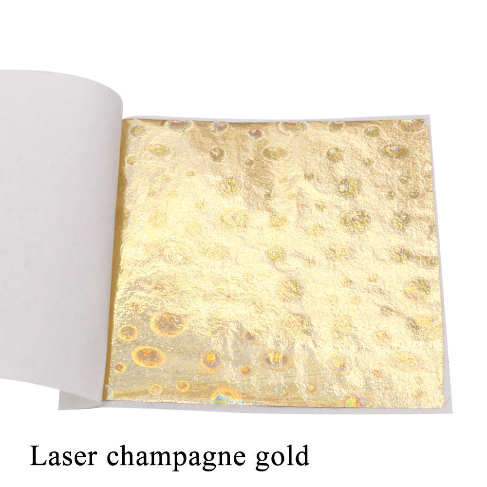100pcs 8x8.5cm Laser Champagne Gold Foil/leaf for Refrigerator for Tile for Wall Furniture Stickers Switch Panel Stickers