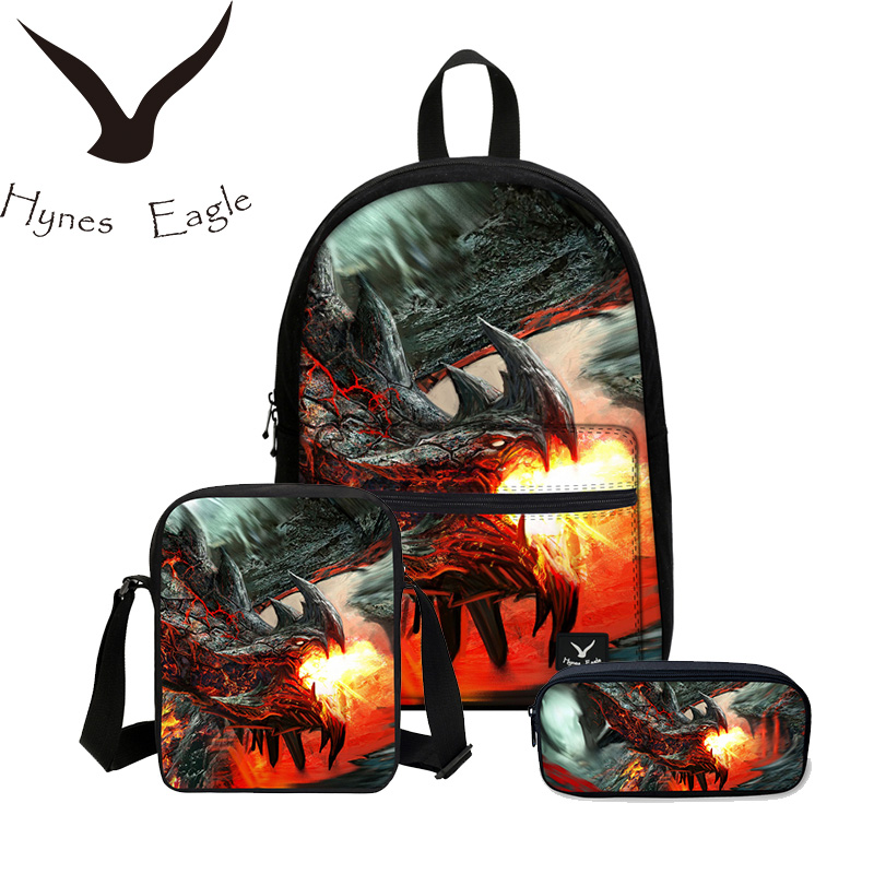 11087572b912 Hynes Eagle 3D Printing Bookbag 3 PCS SET School Bags Men s Backpacks Boys  Canvas Backpack Cool Dragon Children Shoulder Bag-in Backpacks from Luggage  ...