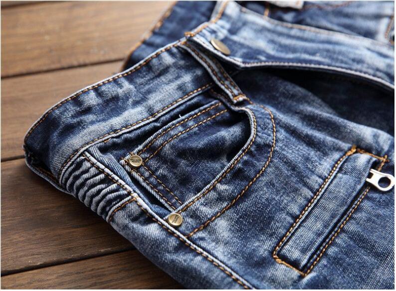 Denim Biker Déchiré Hommes Slim Joggeurs Mode Lavé Bleu Plissée Pantalon Moto Jeans 1419 2018 Droite Homme E0I5nqTEw