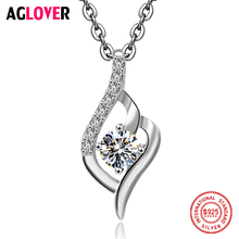 100% 925 Sterling Silver Necklace Fashion Lady AAA Zircon And Pendant Long Wedding Jewelry
