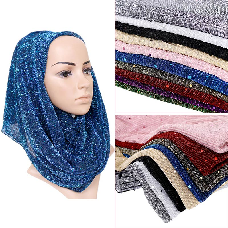 Shimmer wrinkle   scarf   maxi stretchy   wraps   hijab paillette pleated shawls muslim   scarves   headband   wraps   islamic   scarves   10pcs/lot