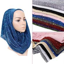 52a171ebd7766 Shimmer wrinkle scarf maxi stretchy wraps hijab paillette pleated shawls  muslim scarves headband wraps islamic scarves