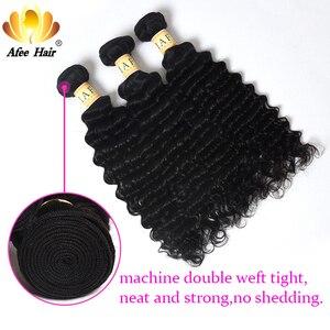 """Image 3 - Aliafee Haar Mongoolse Krul Haar Weave Bundels Natuurlijke Kleur Diepe Golf Bundels Met Sluiting 100% Human Hair Extensions 8""""  28"""""""