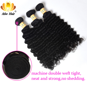 "Image 3 - Aliafee Hair Mongolian Curl Hair Weave Bundles Natural Color Deep Wave Bundles With Closure 100% Human Hair Extension 8"" 28"""