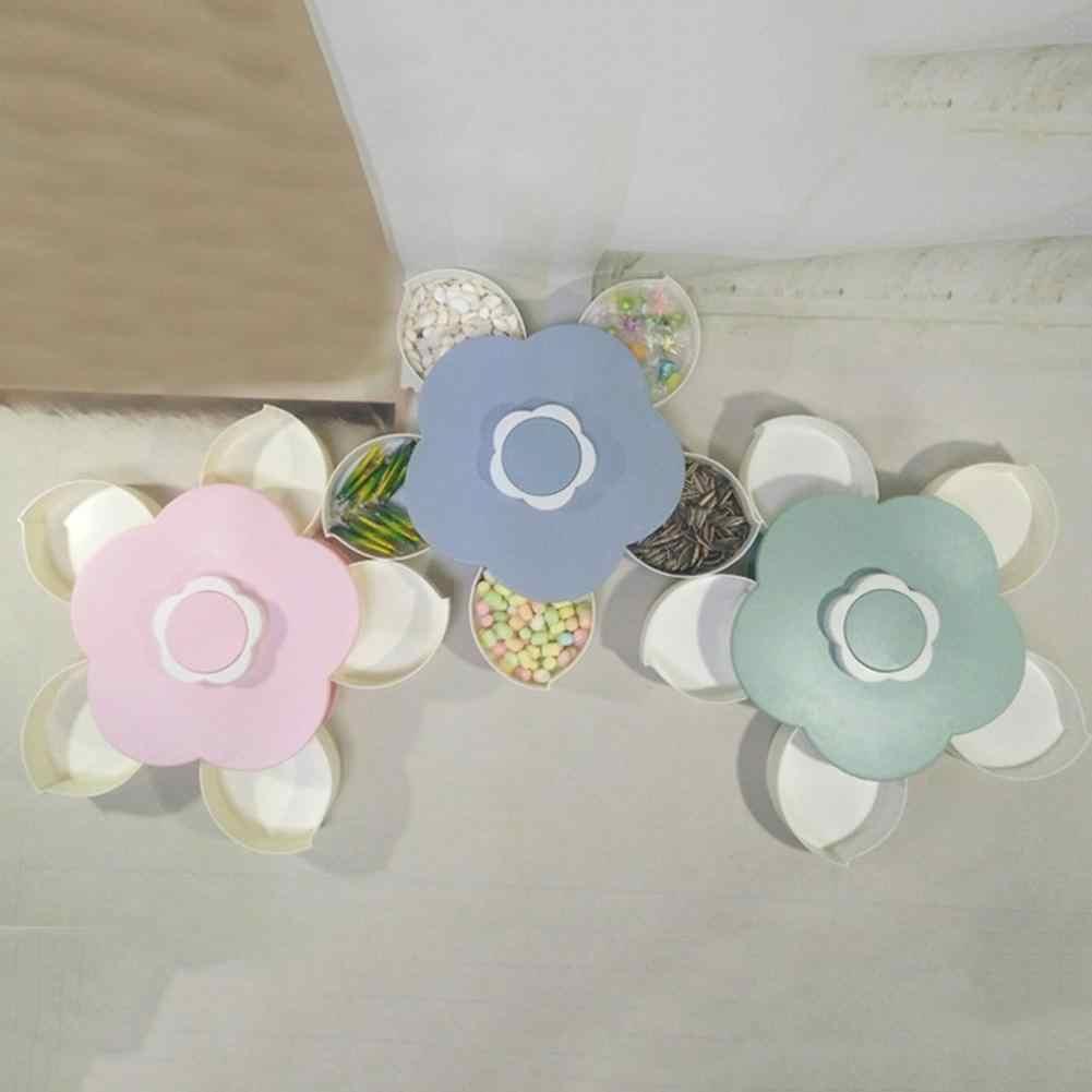 5 Laci Kering Buah Kacang Permen Snack Tray Pemegang Bunga Bentuk Rotary Kotak Permen