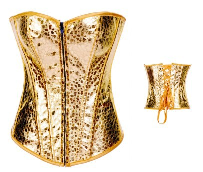 Faux Leather SILVER&GOLD sexy and gorgeous corset New Corset P005 Lace up Women Steel Bone Bustier Corset
