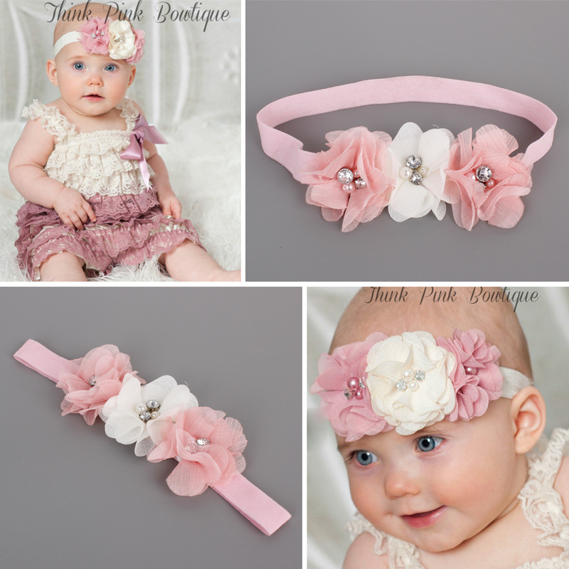 #60021 New Arrival 2017 Baby Girls Hair Accessories Party Use Head Band 3 Flowers Rhinestone Headband For Kids Toddlers